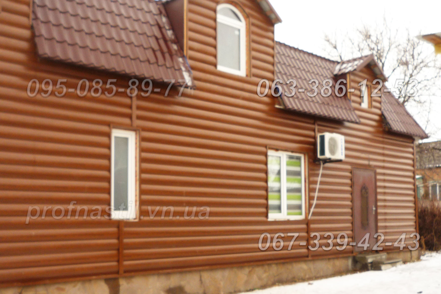 Металлический сайдинг блок хаус под дерево монтаж